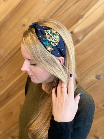 Hampshire Satin Headband with Leopard Navy