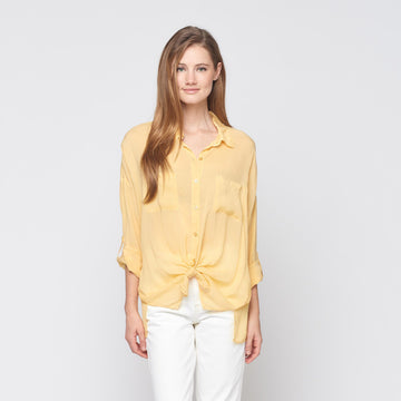 Cargo Pocket Tie Front Top in Canary Yellow