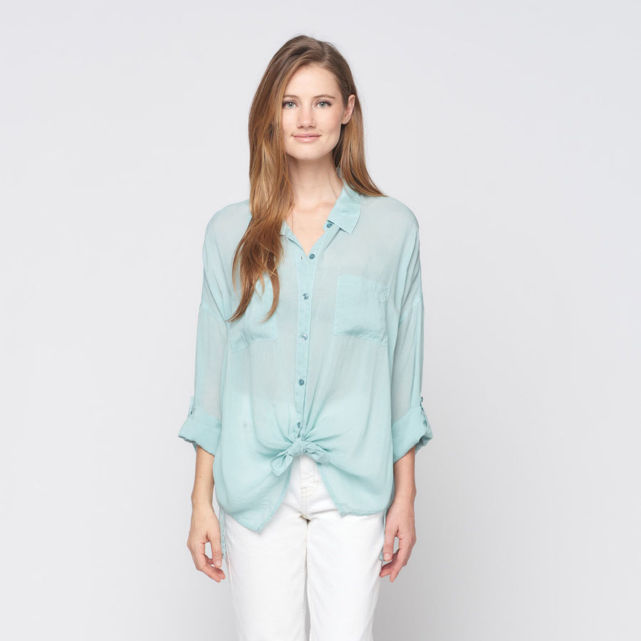 Cargo Pocket Tie Front Top in Seaglass