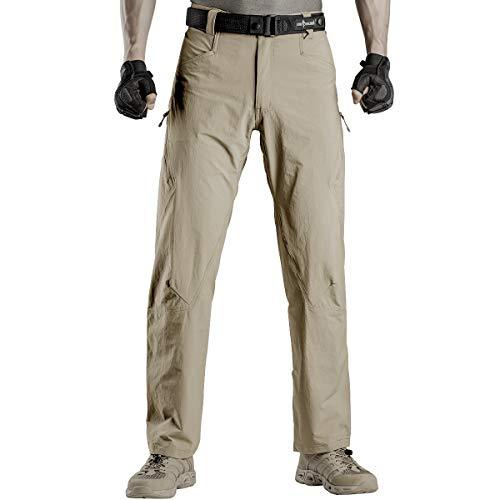 FREE SOLDIER Men's Outdoor Quick Drying Tactical Pants Summer Breathable Stretch Cargo Trousers Lightweight Hiking Fishing Sun Pants