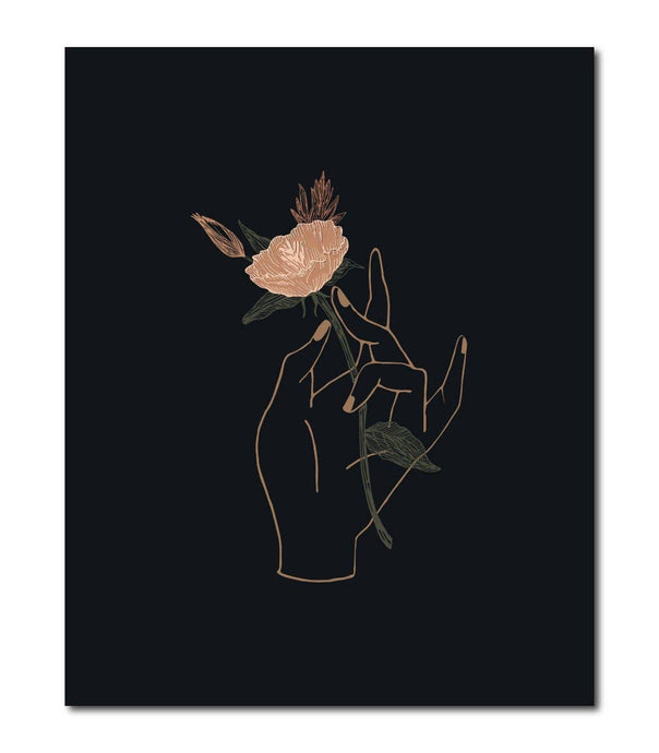 Hand Floral Wall Art Print - 8X10