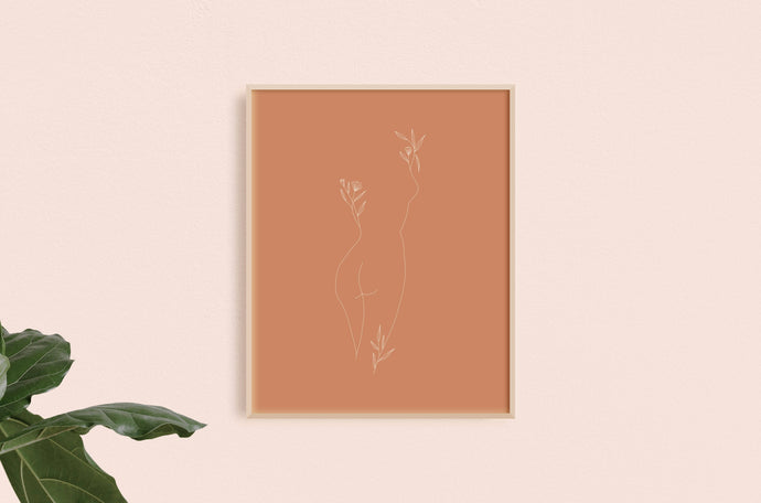 Floral Standing Woman Art Print