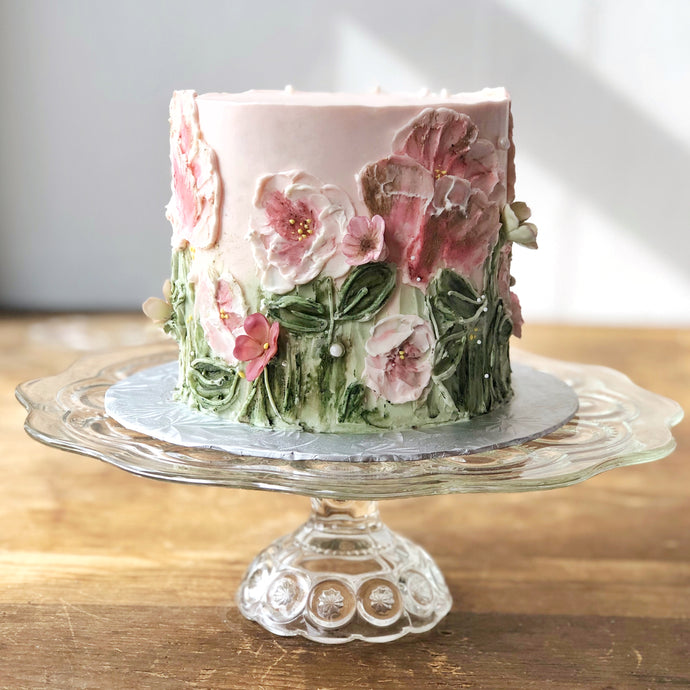 Painted Floral Buttercream Cake
