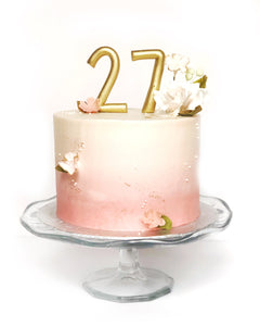 Ombre Buttercream Cake w/ Sugar Flowers & Blossoms and Gold Number Toppers
