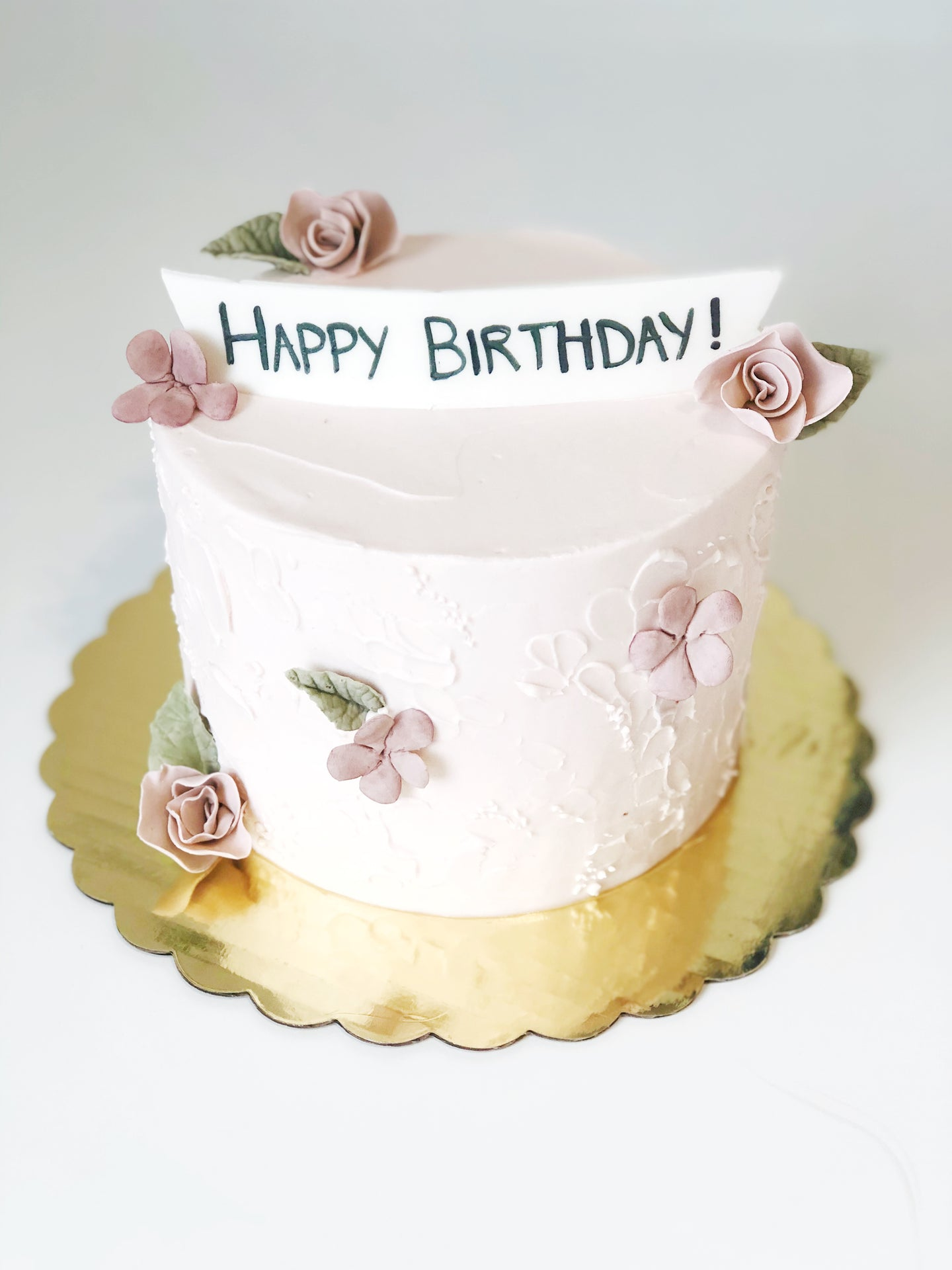 Textured Buttercream Cake w/ Blossoms