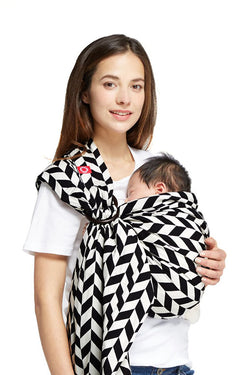 Black & White Herringbone (Wheat Grain) Baby Ring Sling