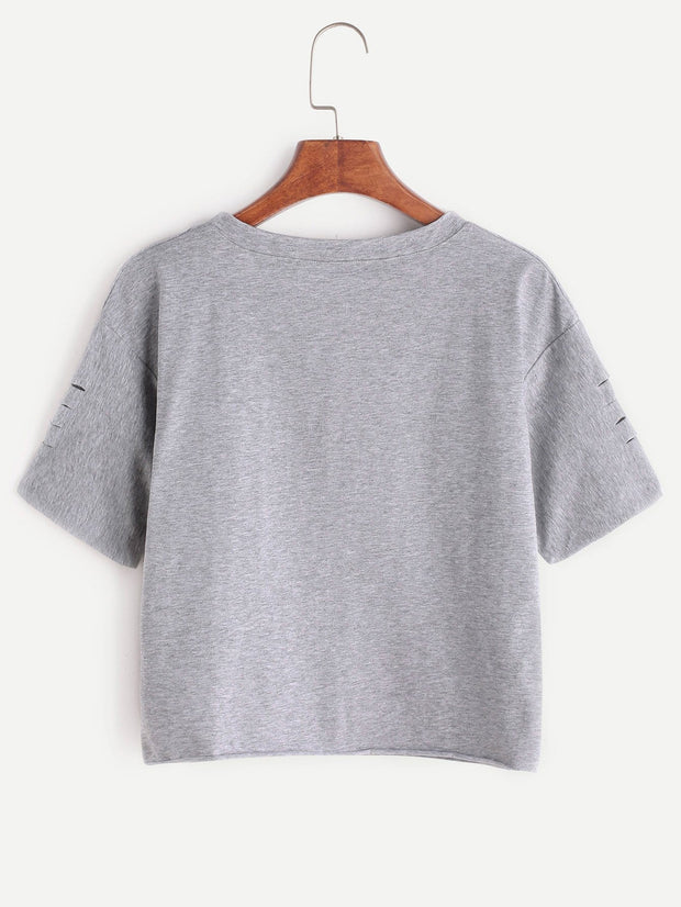 Grey Letter Print Ripped T-shirt | Ollister Urban