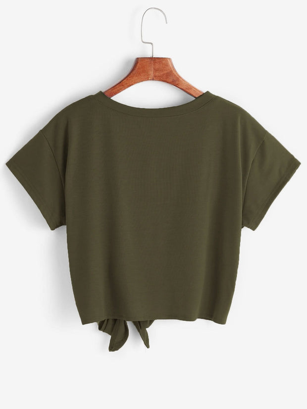 Knot Front Crop Tee | Ollister Urban
