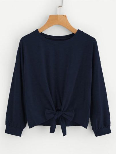 Bow Tie Front Drop Shoulder Sweatshirt | Ollister Urban
