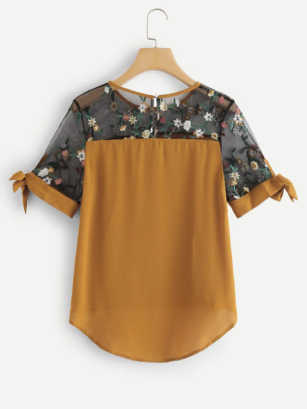 Sheer Mesh Panel Embroidered Blouse | Ollister Urban