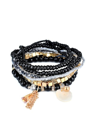 Shell Charm Layered Beaded Necklace | Ollister Urban