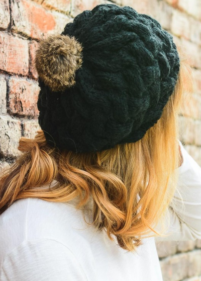 Beautifully Knit Black Beret | Ollister Urban