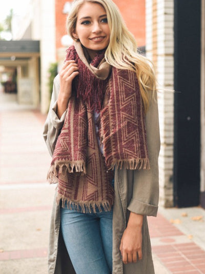 Beautiful Red Geometric Tribal Print Blanket Scarf | Ollister Urban