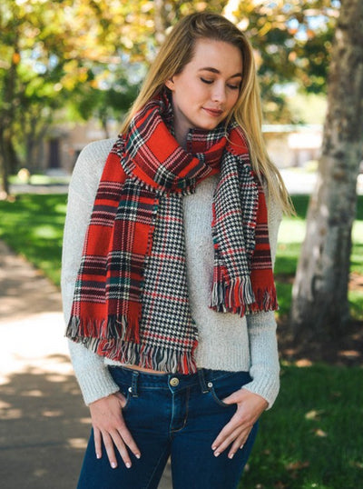 Red, Black & White Classic Plaid Blanket Scarf | Ollister Urban