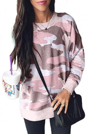 Fashion Dusty Pink Digital Camo Print Sweatshirt | Teal Demeter