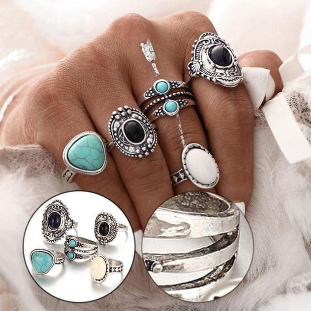 Flawless 5pcs/Set Women Rings Bohemian Vintage | Ollister Urban