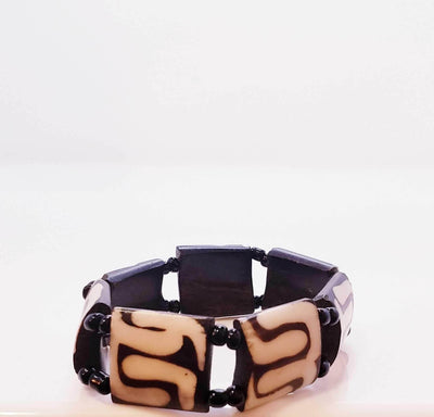 Hand made African Bracelet- Brown & Beige | Ollister Urban