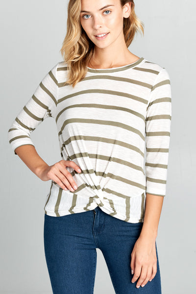 3/4 SLEEVE STRIPED FRONT KNOT TOP | Ollister Urban