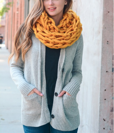 Ultra-Soft Mustard Chunky Infinity Scarf | Ollister Urban