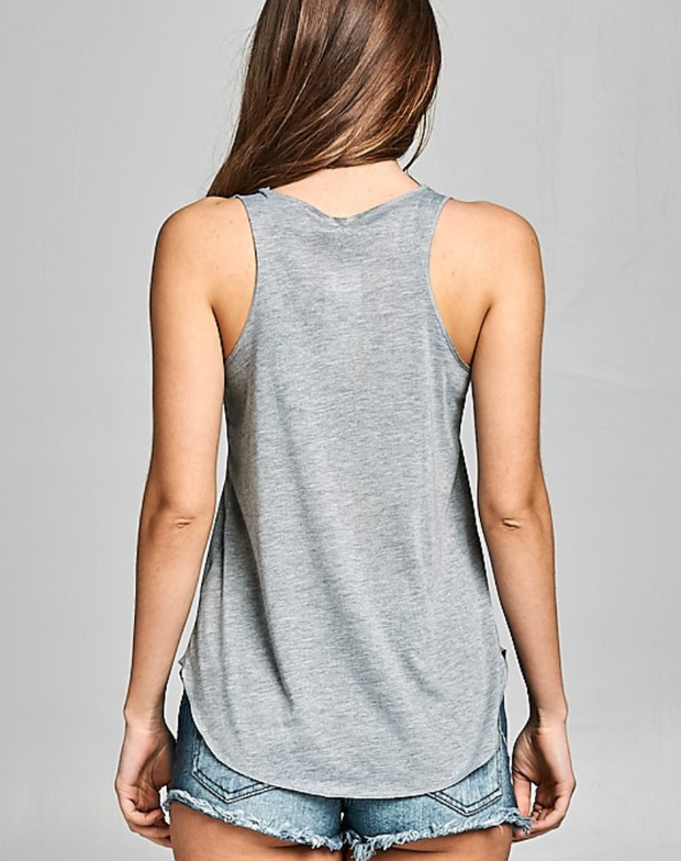 Grey Playful Cat Yoga Tank | Ollister Urban
