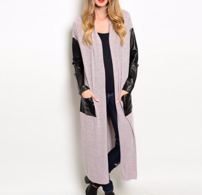 Long Sleeve Faux leather Duster Cardigan | Ollister Urban