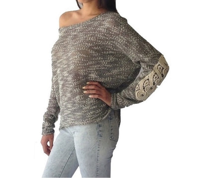 CROCHET ELBOW MARLED PULLOVER TOP | Ollister Urban