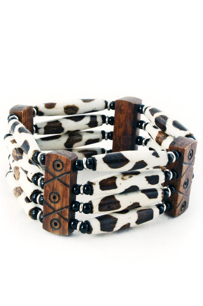 Fancy Batik African Cow Bone Bracelet | Ollister Urban