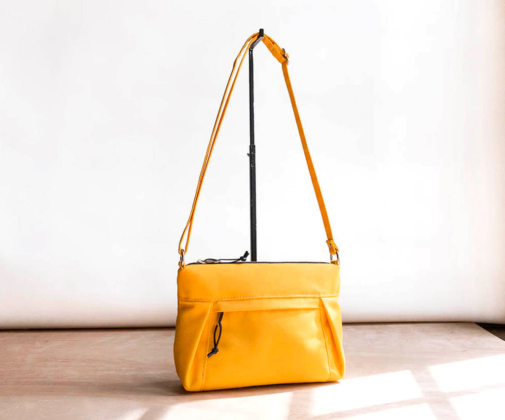 waxed canvas mini travel purse in yellow