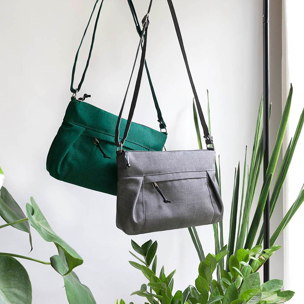 waxed canvas travel cross body bags, emerald green and charcoal grey