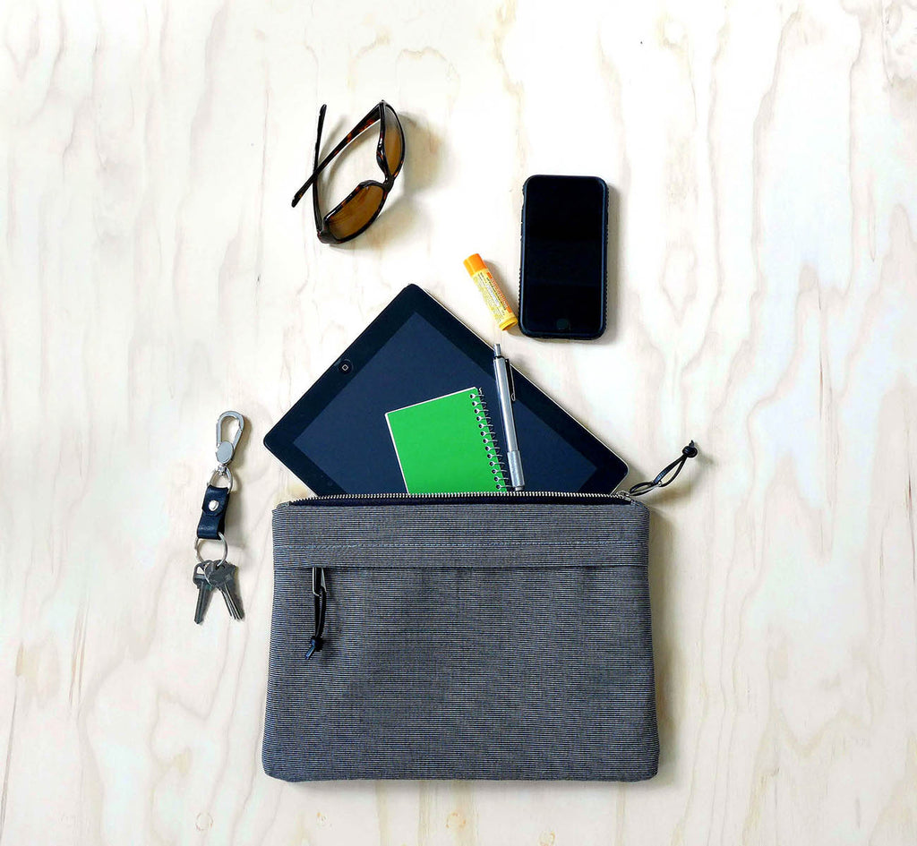 waxed canvas iPad case in grey