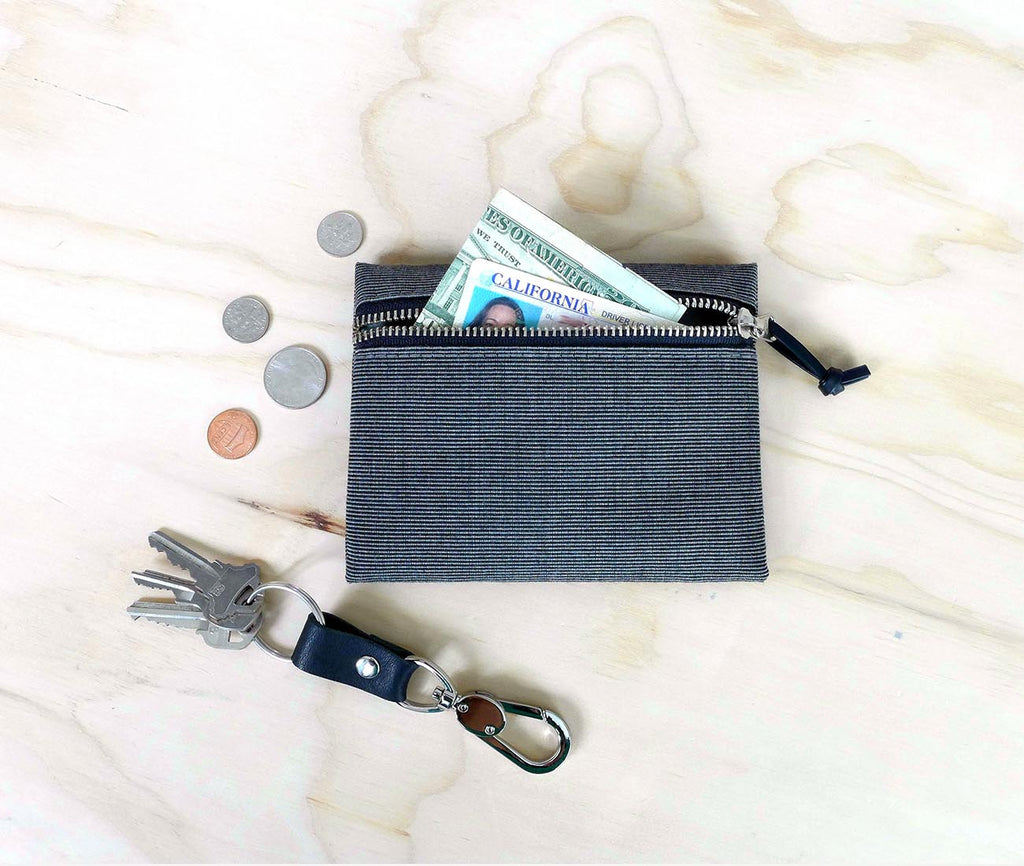 small zip wallet, grey waxed canvas