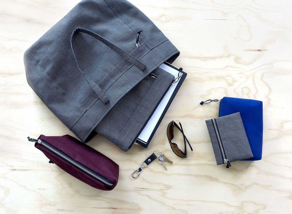 flat lay style, tote and dopp kit
