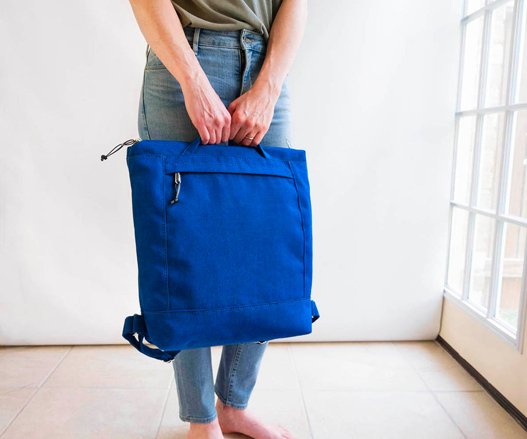waxed canvas zip backpack in royal blue, convertible backpack and tote