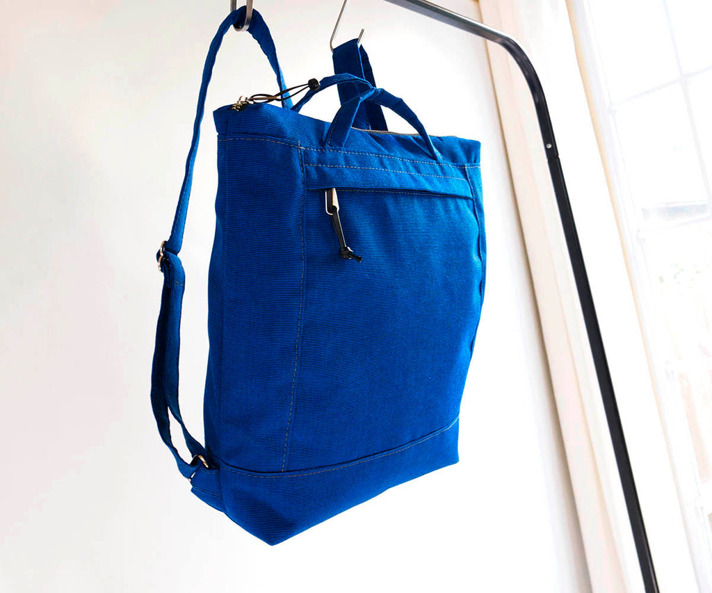 canvas travel backpack, royal blue