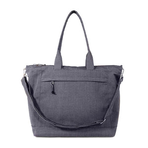simple large tote with outside pocket and removable shoulder strap in charcoal gray