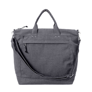 medium travel tote in charcoal gray with removable shoulder strap