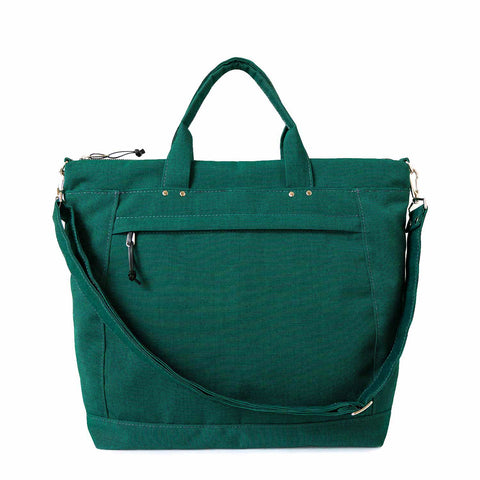 waterproof canvas laptop tote in emerald green