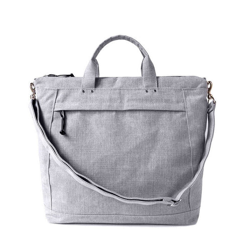 canvas tote handbag with removable shoulder strap in heather gray