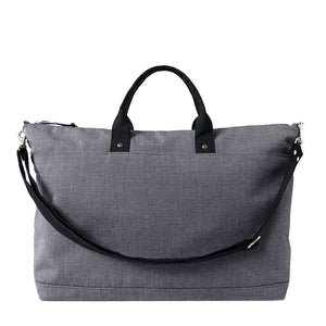 extra large gray canvas tote  with short black handles and black removable shoulder strap