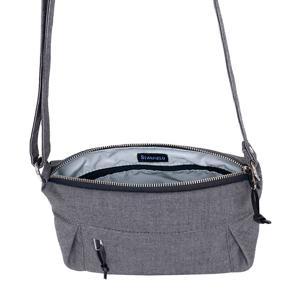 small carryall purse in charcoal grey interior zipper pocket