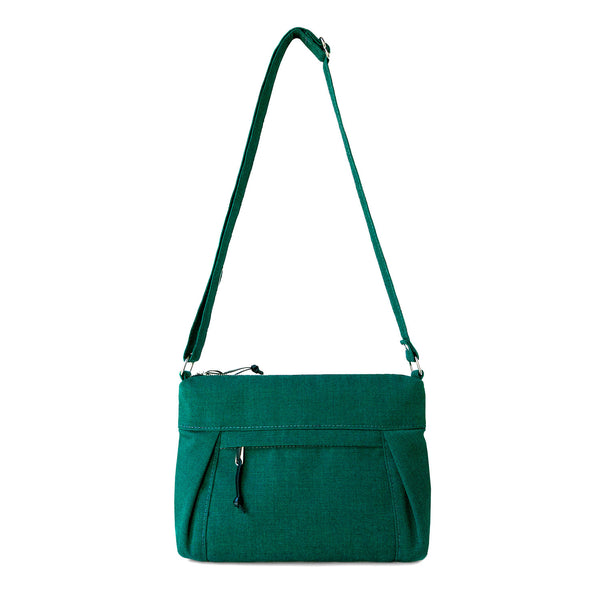 small crossbody bag with pleats and outside pocket in emerald green