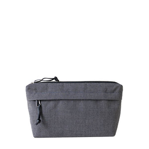 canvas dopp kit with outside pocket in charcoal gray