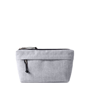 canvas zip pouch with outside pocket in light gray