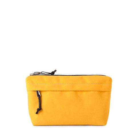 zip pouch with wide bottom and outside pocket in yellow