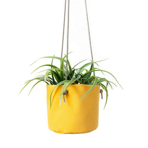 waterproof canvas hanging planter in yellow