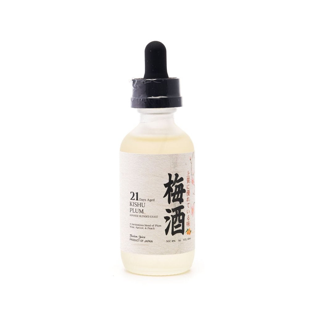 Vapor juice by Taste Japan flavored Kishu Plum eJuice in a clear glass bottle.