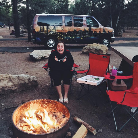 Sat around a campfire at Mather Campground, Grand Canyon National Park, USA