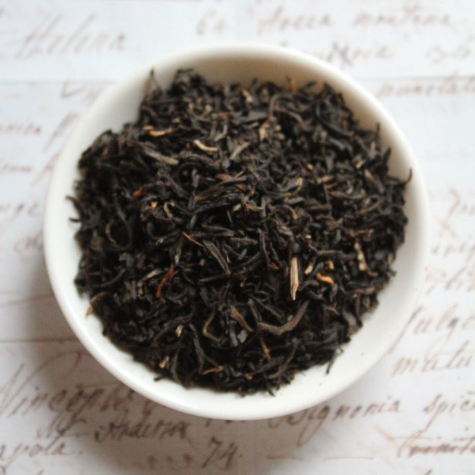 Overhead view of Assam loose leaf black tea