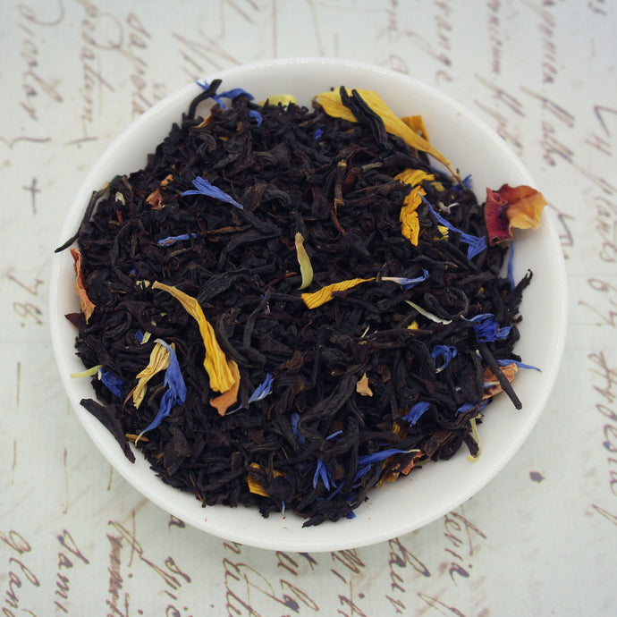 View of mango and passionfruit black loose leaf tea