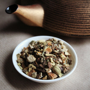 Energy tea herbal blend with gold teapot